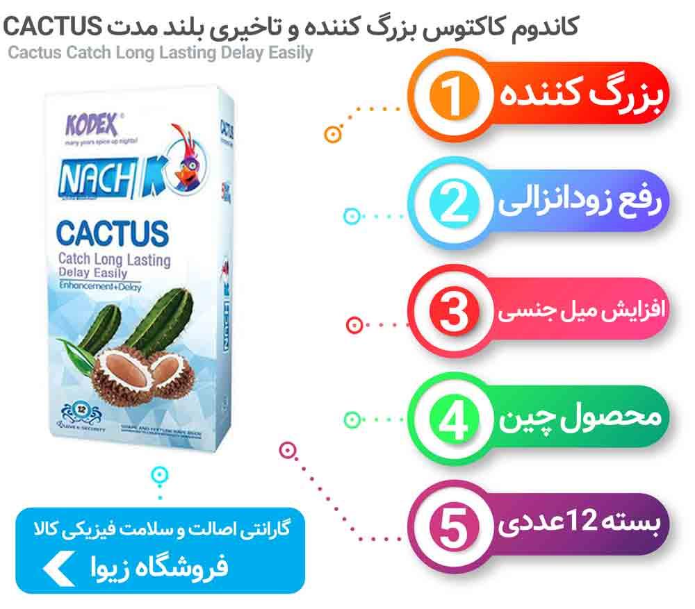 اینفوگرافی کاندوم کاکتوس بزرگ کننده و تاخیری بلند مدت CACTUS