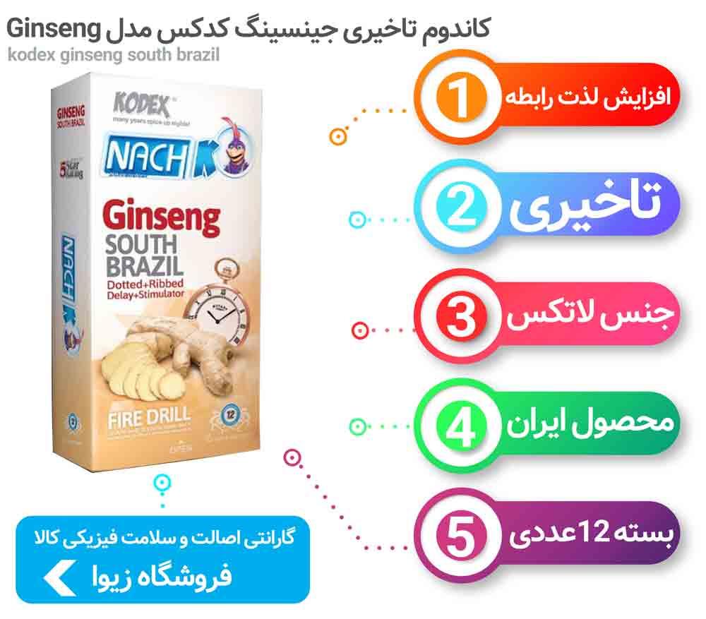 اینفوگرافی کاندوم تاخیری جینسینگ کدکس مدل Ginseng بسته 12 عددی