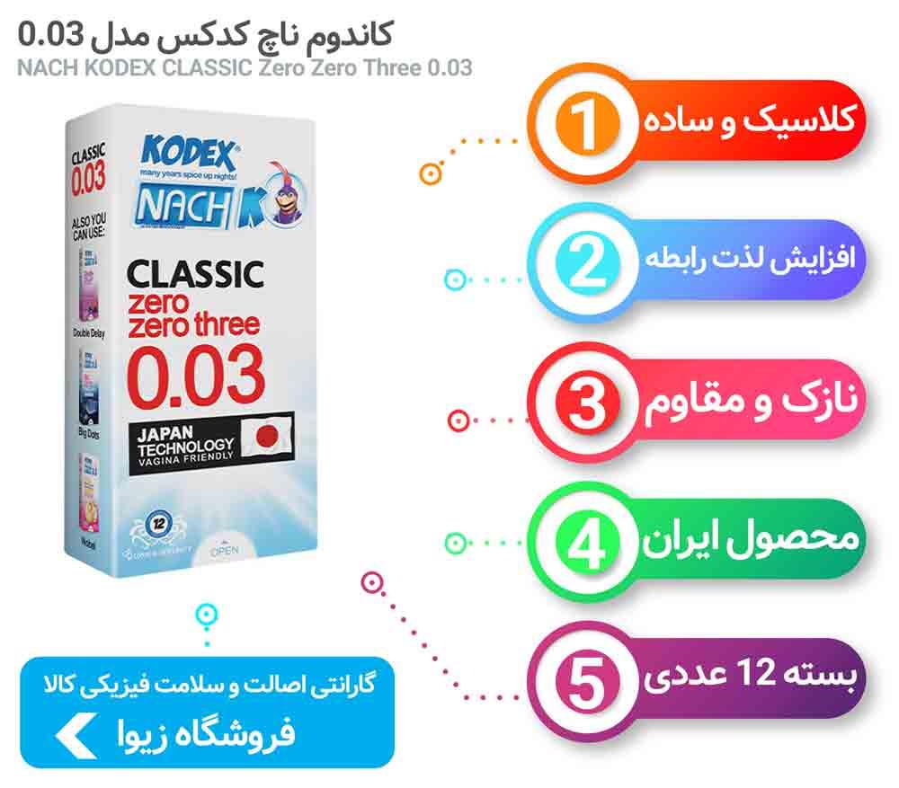 اینفوگرافی کاندوم ناچ کدکس کلاسیک زیرو زیرو تری NACH KODEX CLASSIC Zero Zero Three 0.03
