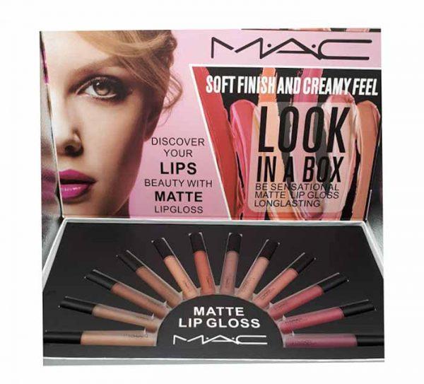 پک رژ مایع ۱۲ عددی مات آرایشی (Matte Lip Gloss Look In A Box)